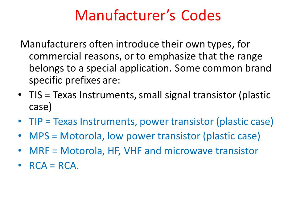 Manufacturer's Codes