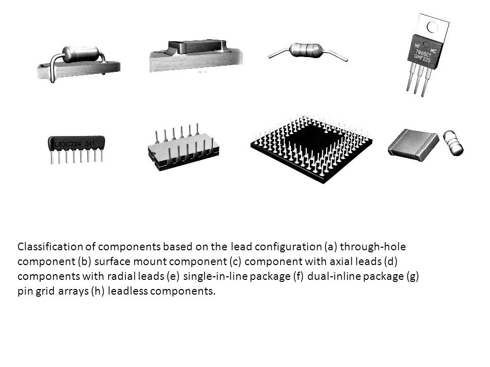 Classification of components based on the lead configuration (a) through-hole component (b) surface mount component (c) component with axial leads (d) components with radial leads (e) single-in-line package (f) dual-inline package (g) pin grid arrays (h) leadless components.