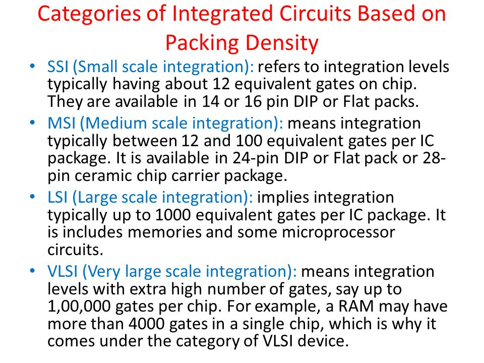 Categories of Integrated Circuits Based on Packing Density
