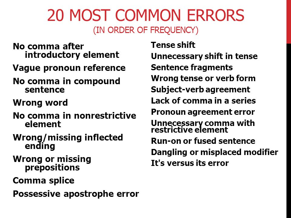 20 Most Common Errors (In Order of Frequency)