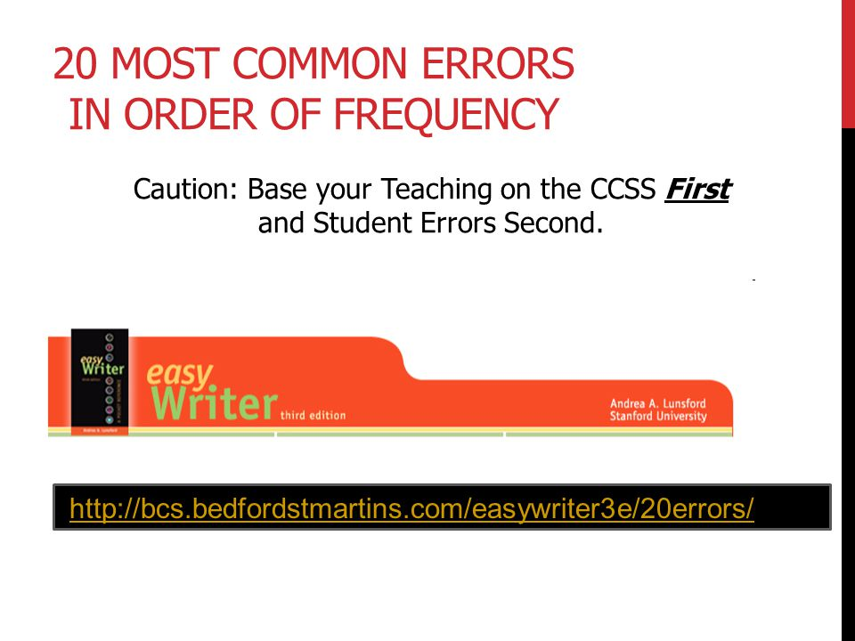 20 Most Common Errors in Order of Frequency