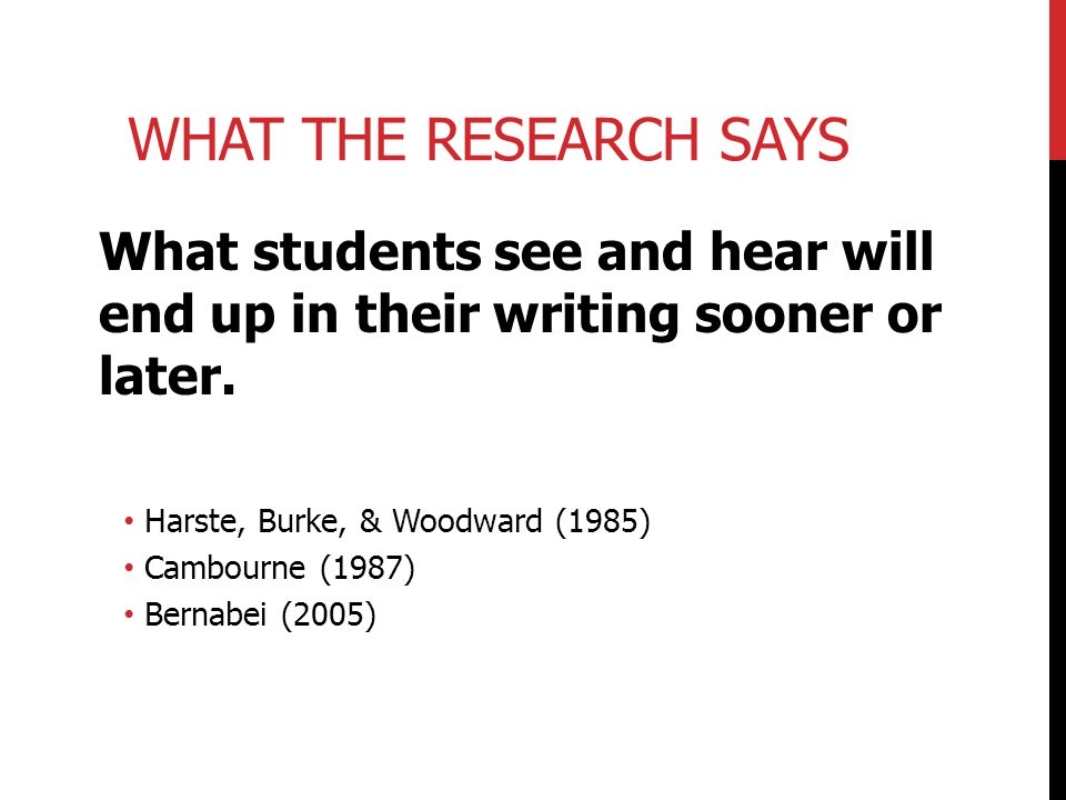 What the Research Says What students see and hear will end up in their writing sooner or later. Harste, Burke, & Woodward (1985)