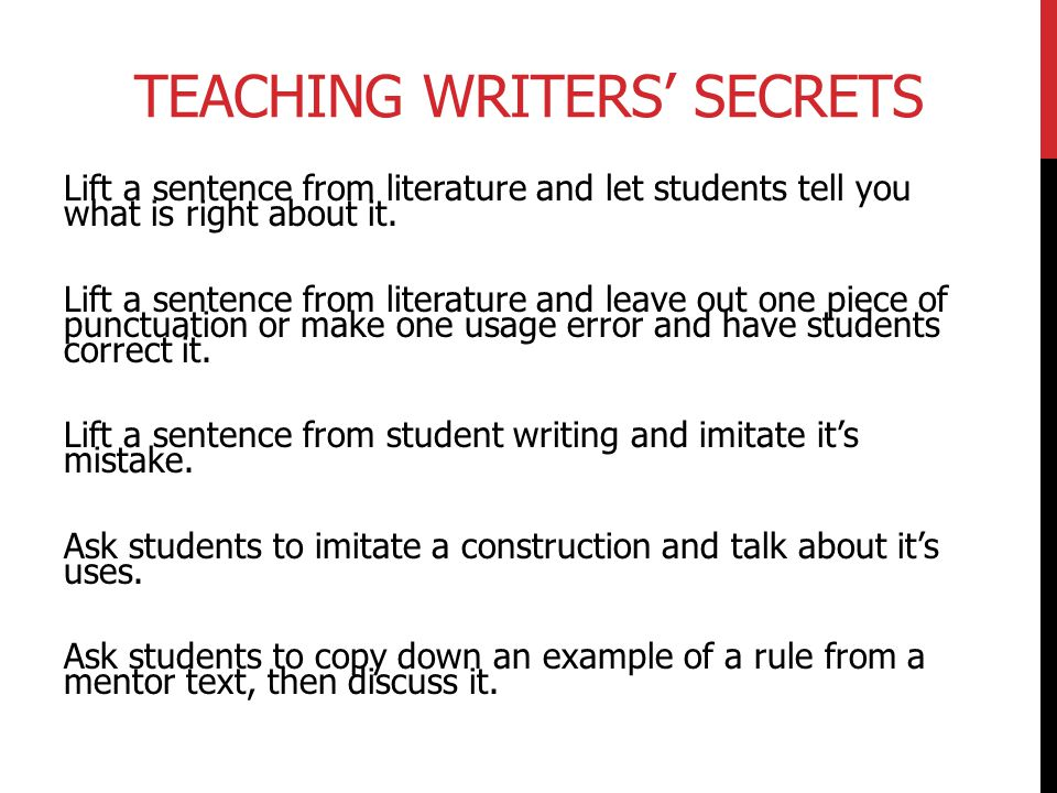 Teaching Writers' Secrets