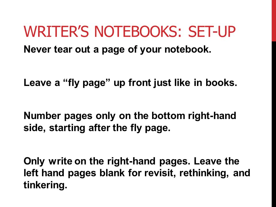 Writer's Notebooks: Set-Up
