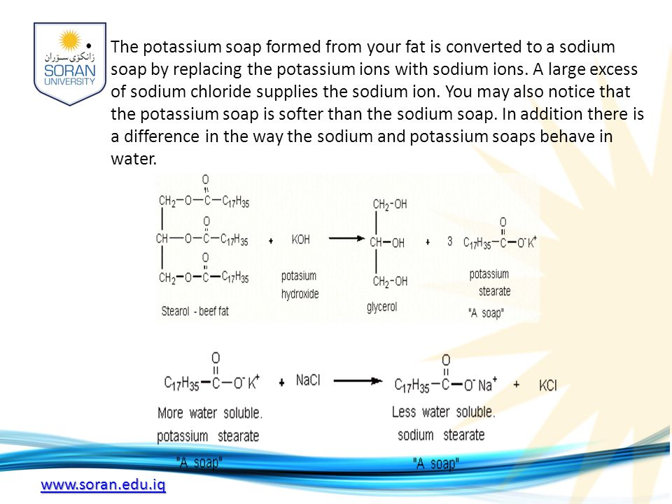 The potassium soap formed from your fat is converted to a sodium soap by replacing the potassium ions with sodium ions.