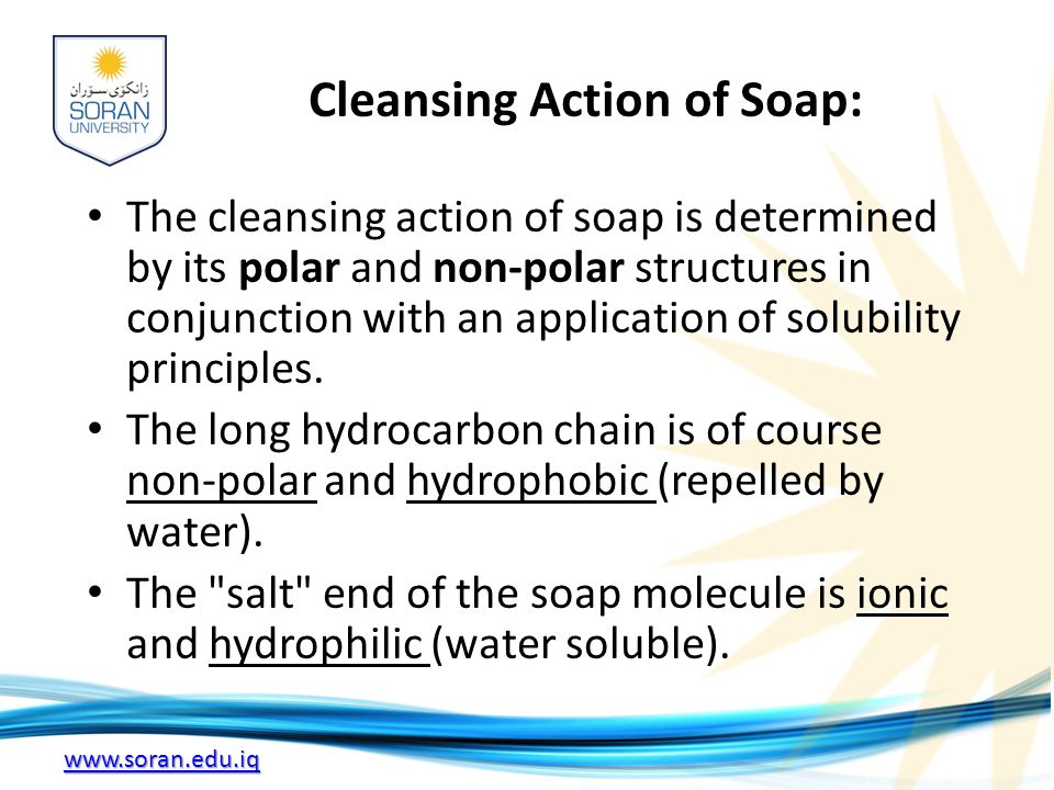 Cleansing Action of Soap: