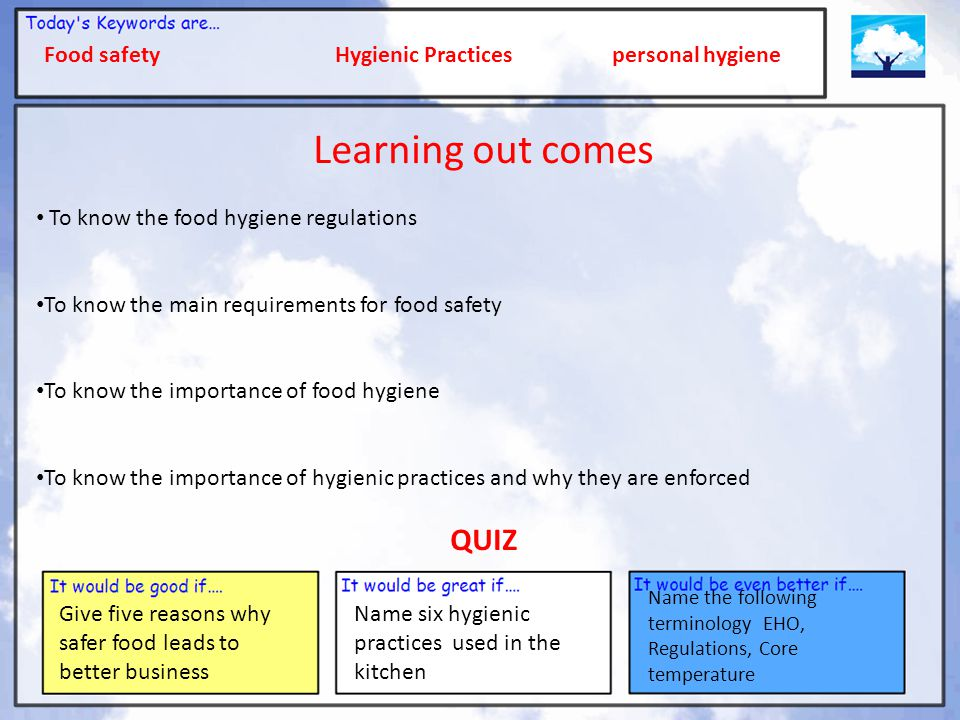 Learning out comes QUIZ