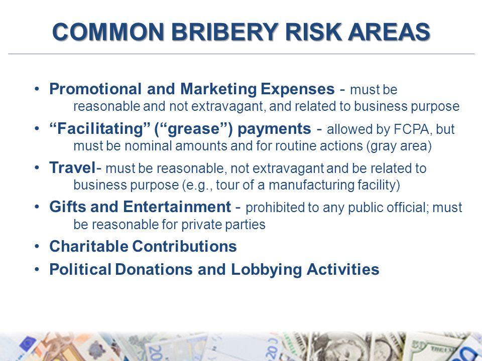 COMMON BRIBERY RISK AREAS