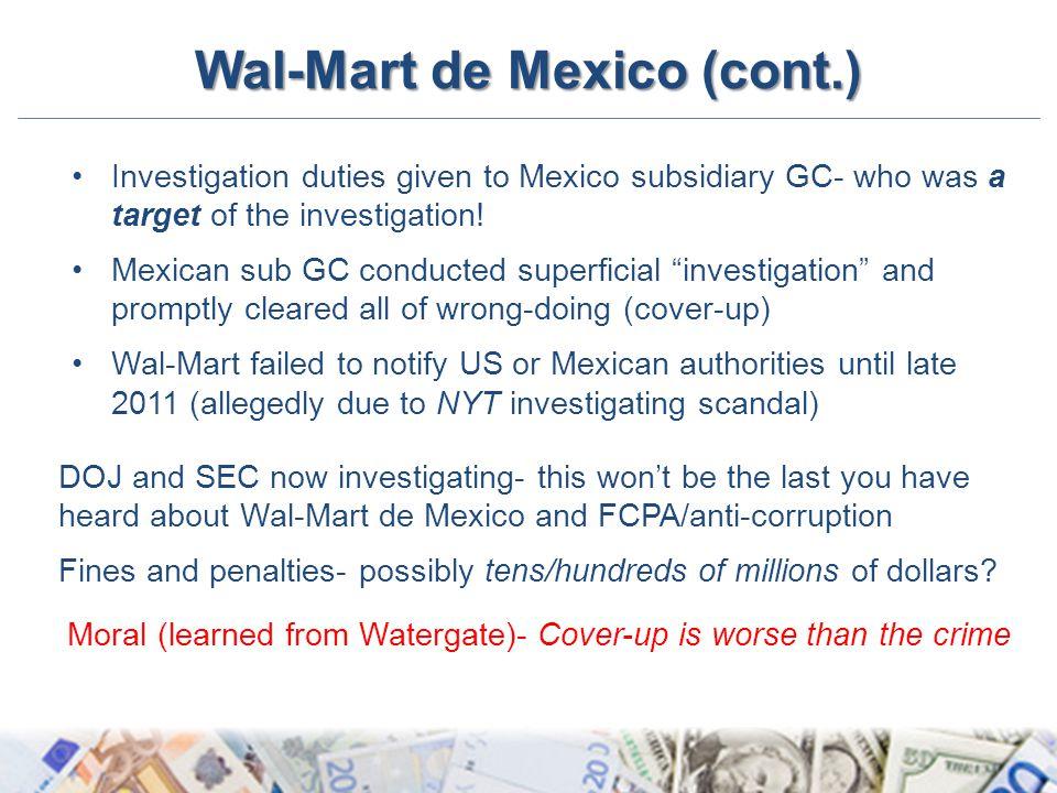 Wal-Mart de Mexico (cont.)