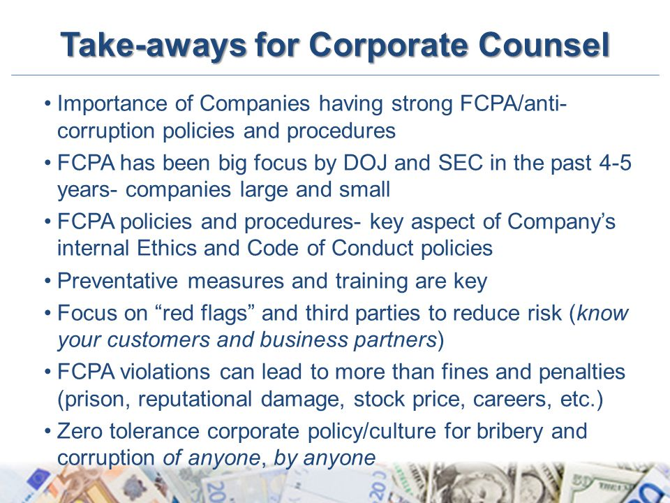 Take-aways for Corporate Counsel
