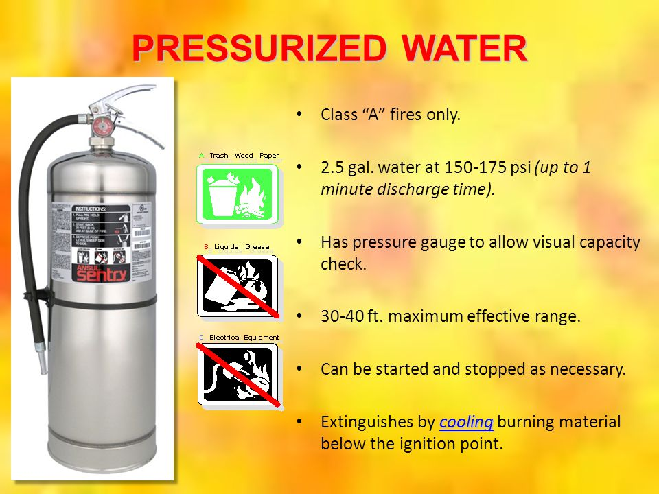 PRESSURIZED WATER Class A fires only.