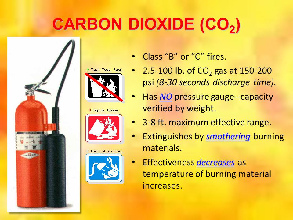CARBON DIOXIDE (CO2) Class B or C fires.