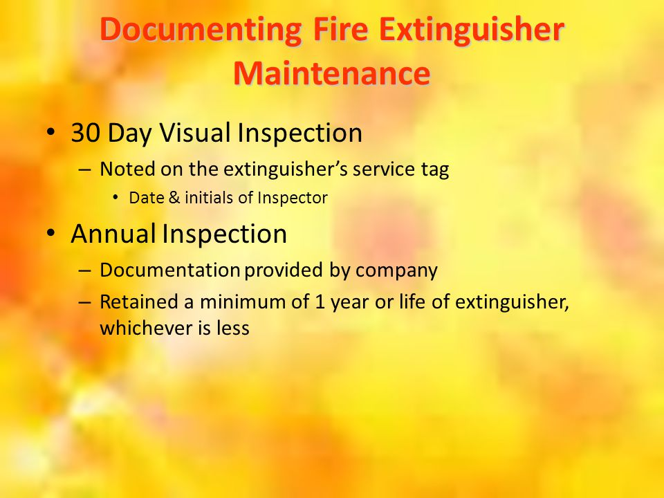 Documenting Fire Extinguisher Maintenance