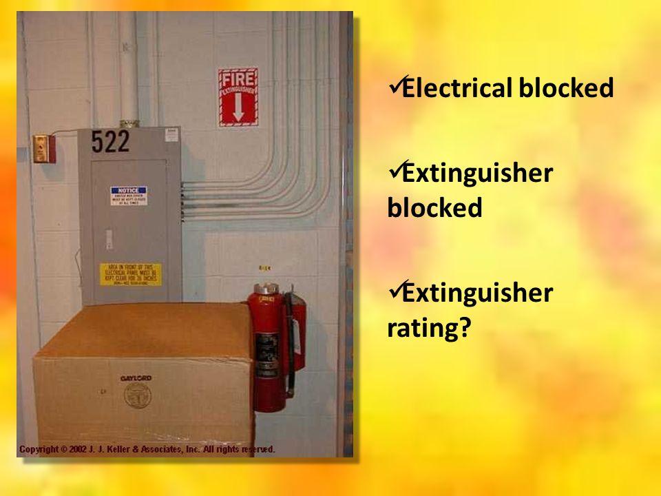Electrical blocked Extinguisher blocked Extinguisher rating