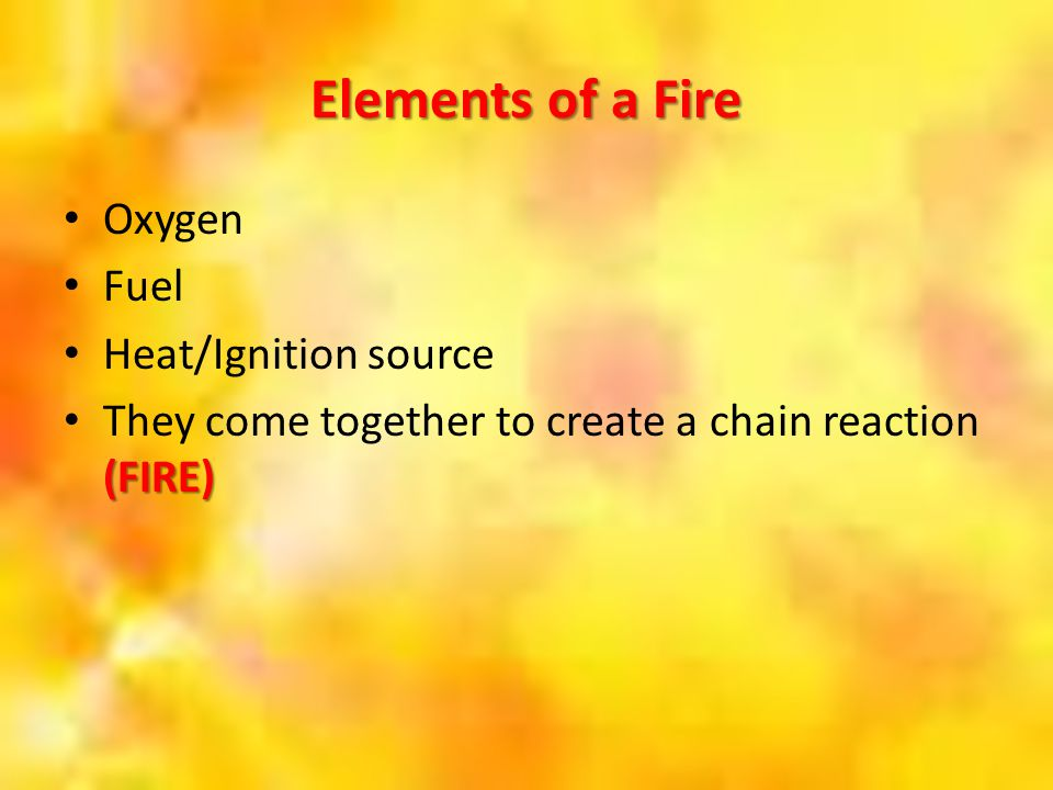 Elements of a Fire Oxygen Fuel Heat/Ignition source