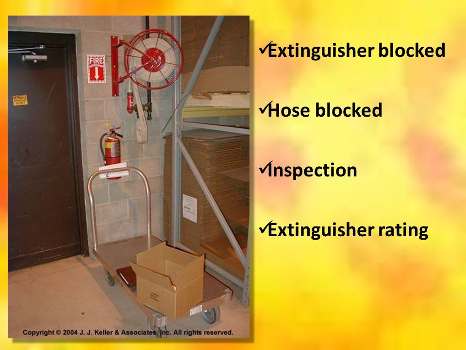 Extinguisher blocked Hose blocked Inspection Extinguisher rating