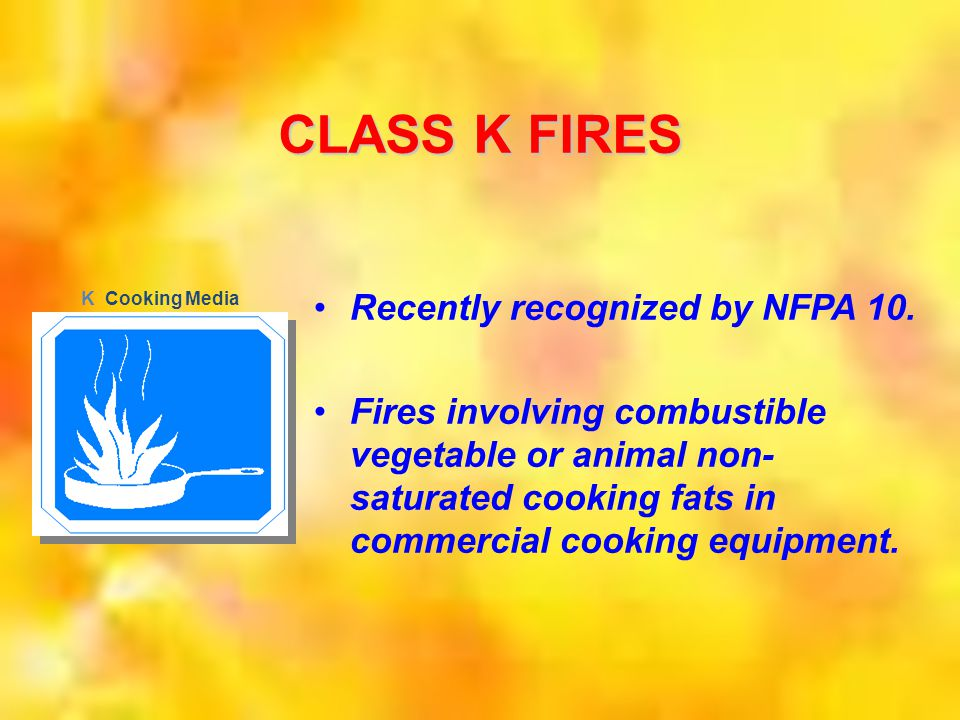 CLASS K FIRES Recently recognized by NFPA 10.