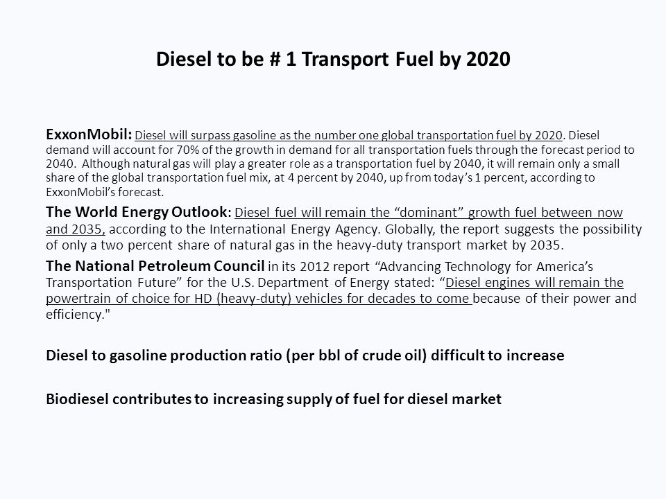 Diesel to be # 1 Transport Fuel by 2020