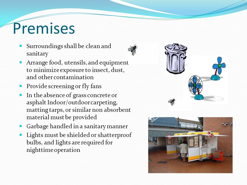 Premises Surroundings shall be clean and sanitary