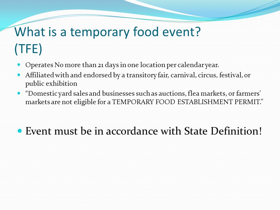 What is a temporary food event (TFE)