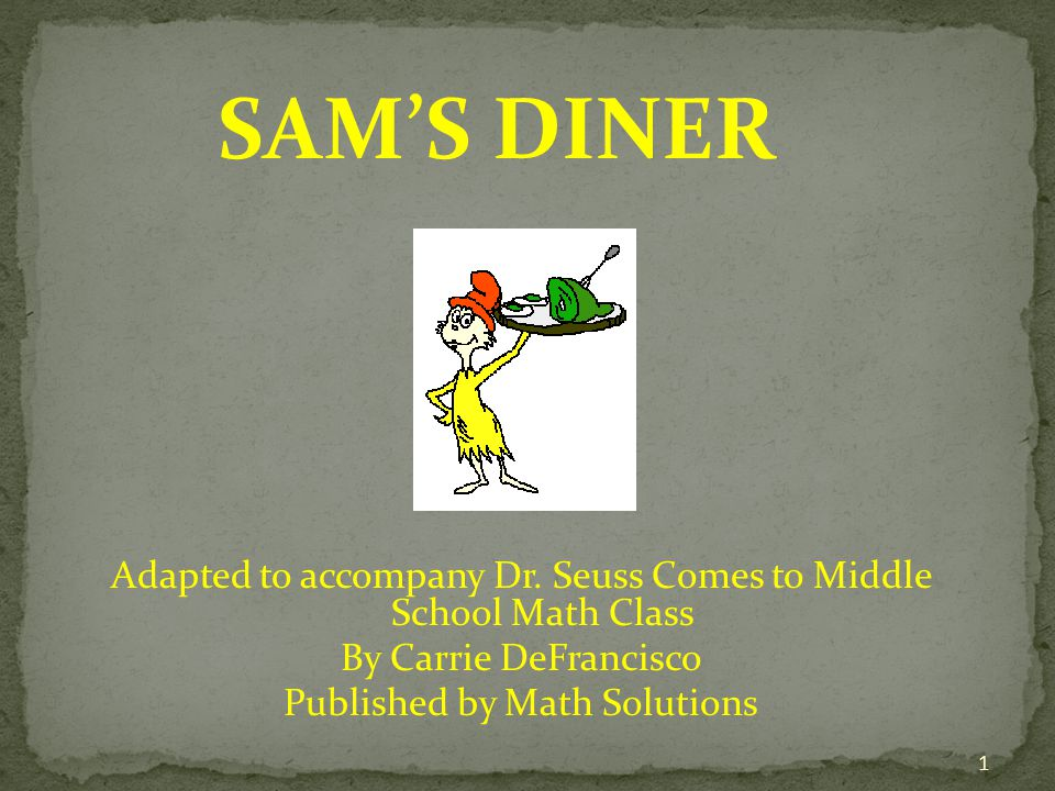 SAM'S DINER Adapted to accompany Dr.