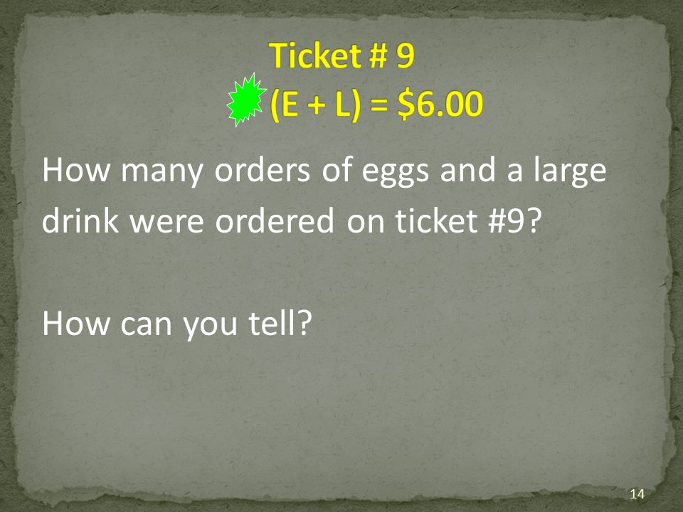 Ticket # 9 (E + L) = $6.00 How many orders of eggs and a large drink were ordered on ticket #9.