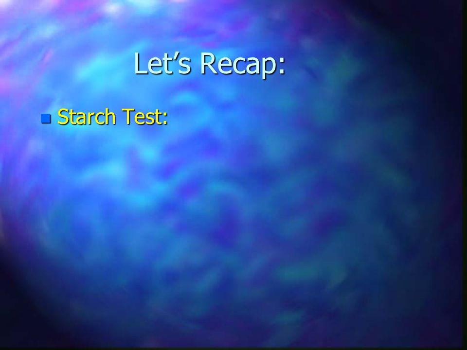 Let's Recap: Starch Test: