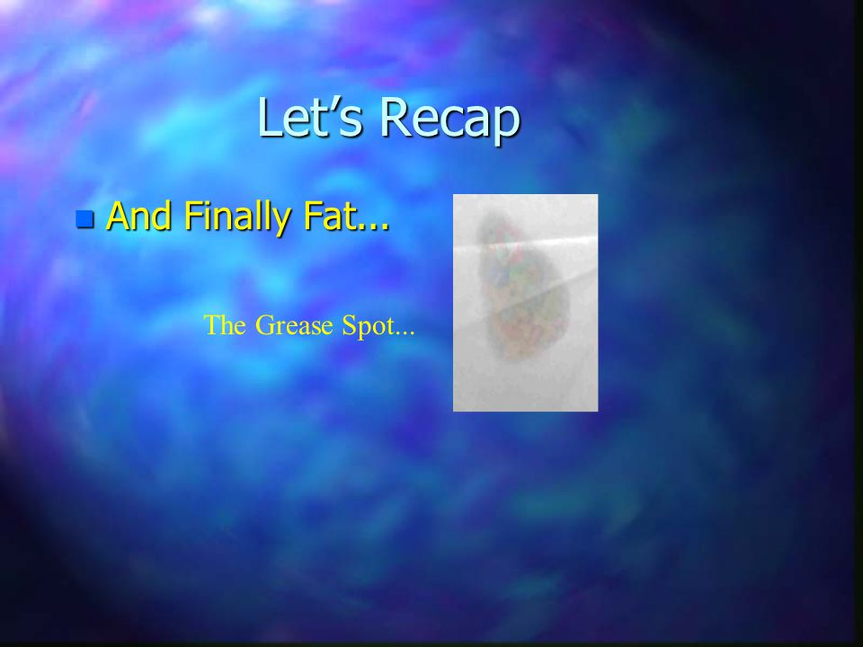 Let's Recap And Finally Fat... The Grease Spot...