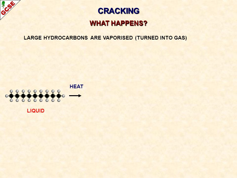 CRACKING WHAT HAPPENS LARGE HYDROCARBONS ARE VAPORISED (TURNED INTO GAS) HEAT LIQUID