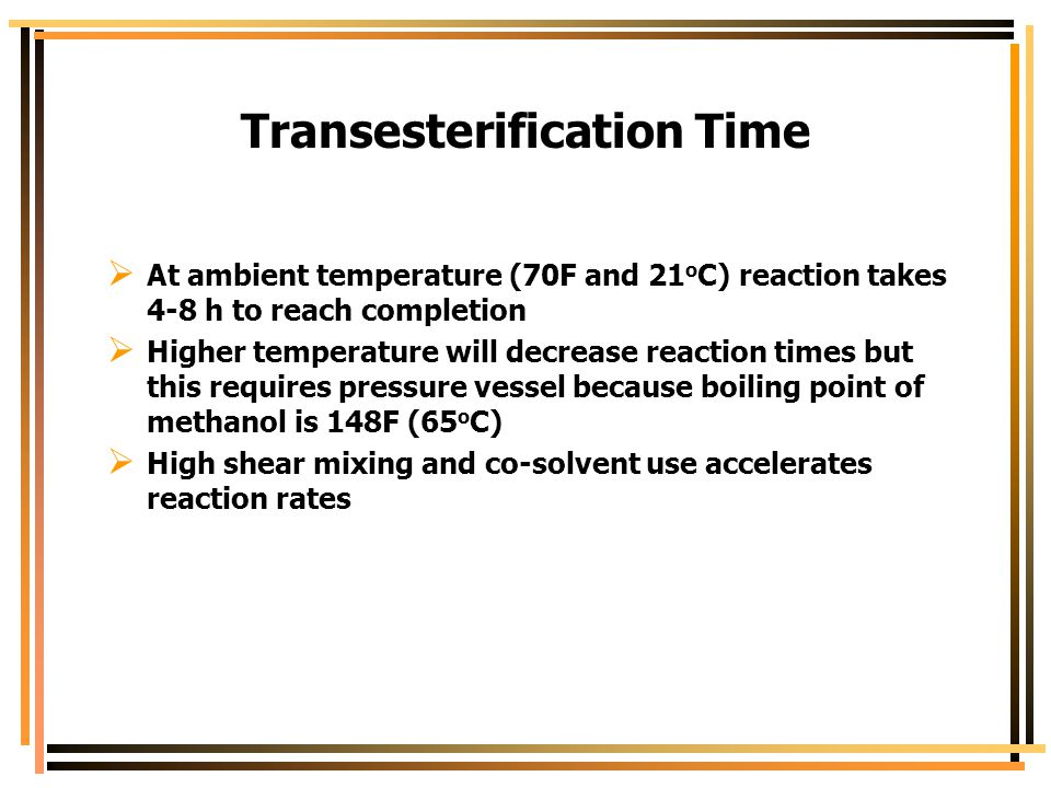 Transesterification Time