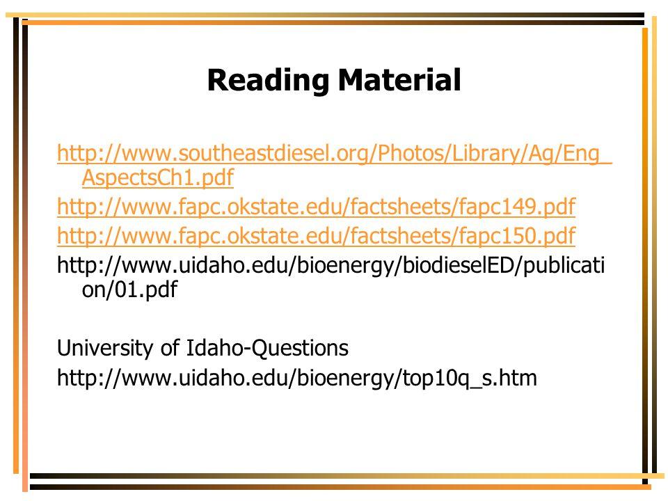 Reading Material http://www.southeastdiesel.org/Photos/Library/Ag/Eng_AspectsCh1.pdf. http://www.fapc.okstate.edu/factsheets/fapc149.pdf.
