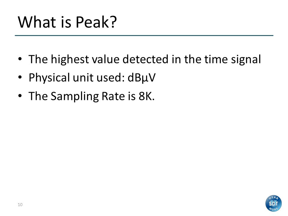 What is Peak The highest value detected in the time signal