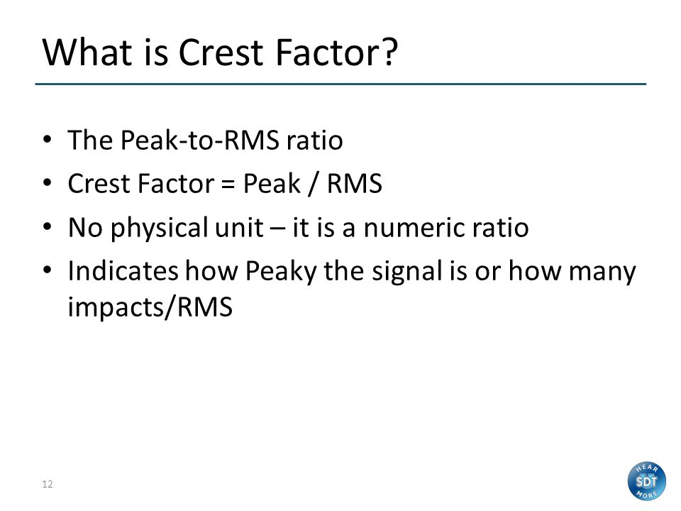What is Crest Factor The Peak-to-RMS ratio Crest Factor = Peak / RMS