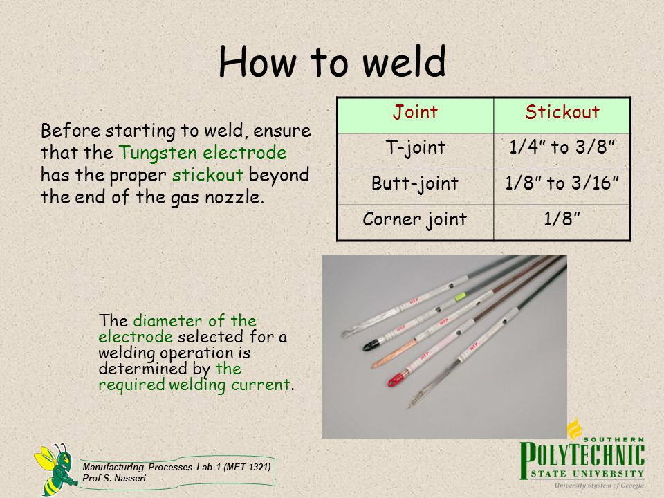 How to weld Joint Stickout T-joint 1/4 to 3/8 Butt-joint