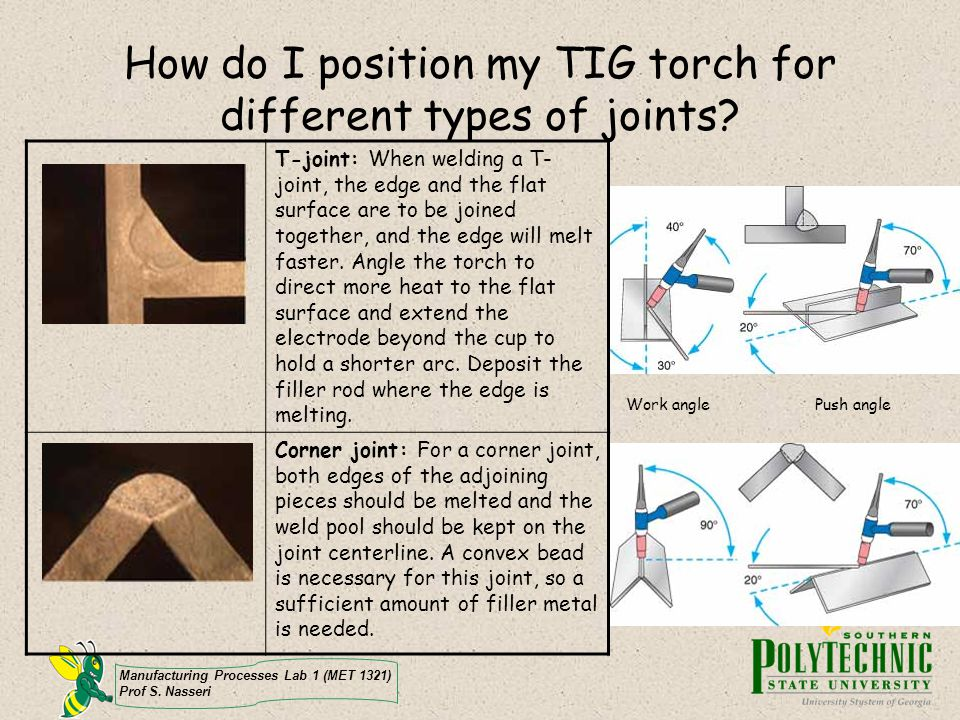 How do I position my TIG torch for different types of joints