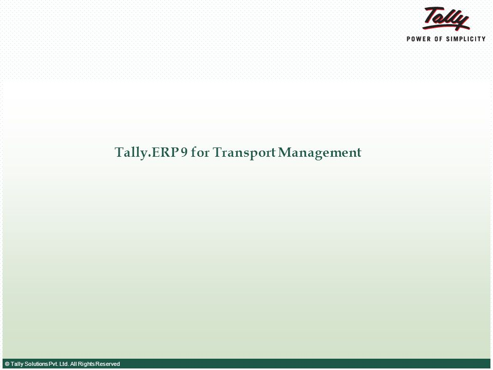 Tally.ERP 9 for Transport Management