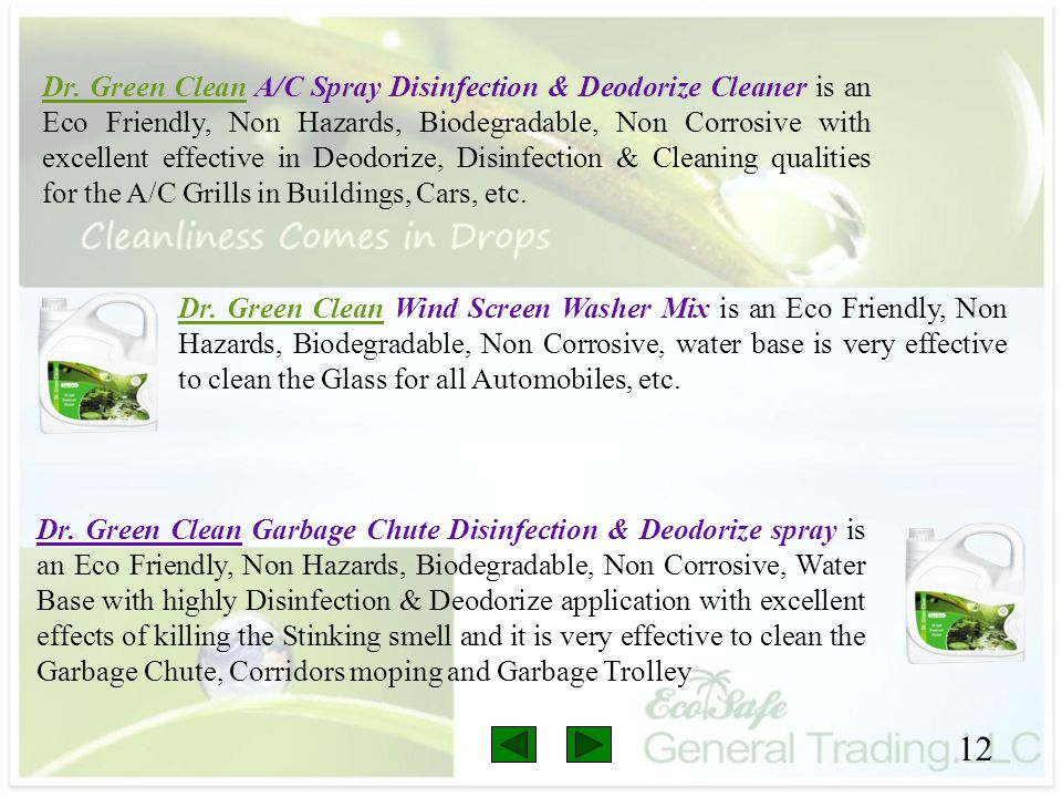 Dr. Green Clean A/C Spray Disinfection & Deodorize Cleaner is an Eco Friendly, Non Hazards, Biodegradable, Non Corrosive with excellent effective in Deodorize, Disinfection & Cleaning qualities for the A/C Grills in Buildings, Cars, etc.