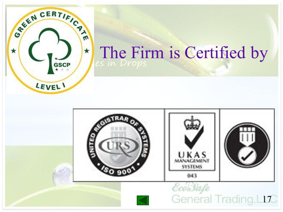 The Firm is Certified by