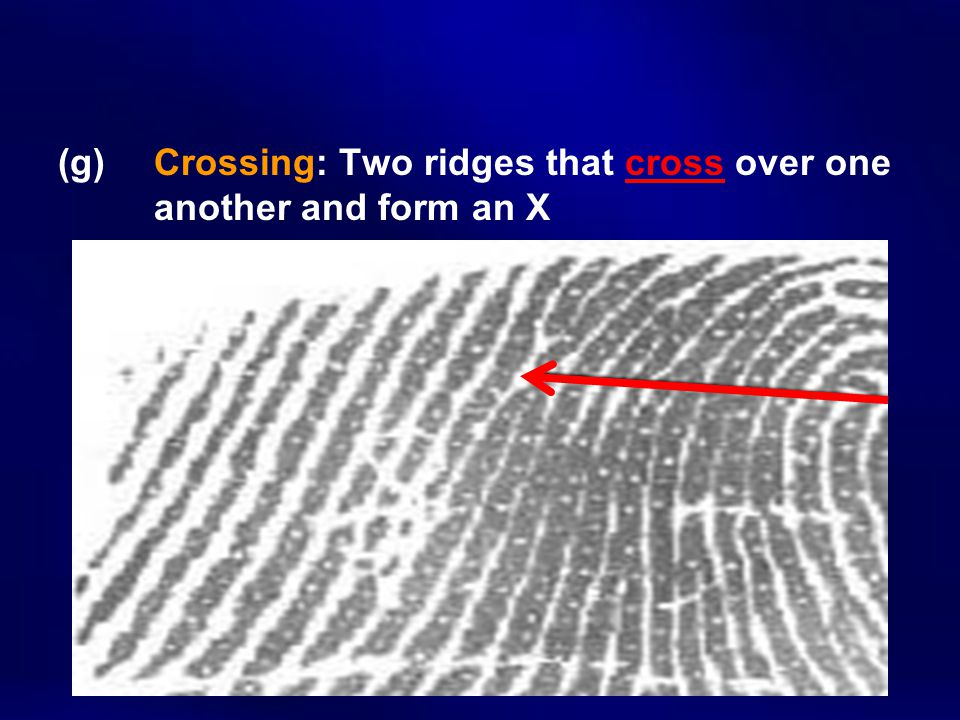 (g) Crossing: Two ridges that cross over one another and form an X
