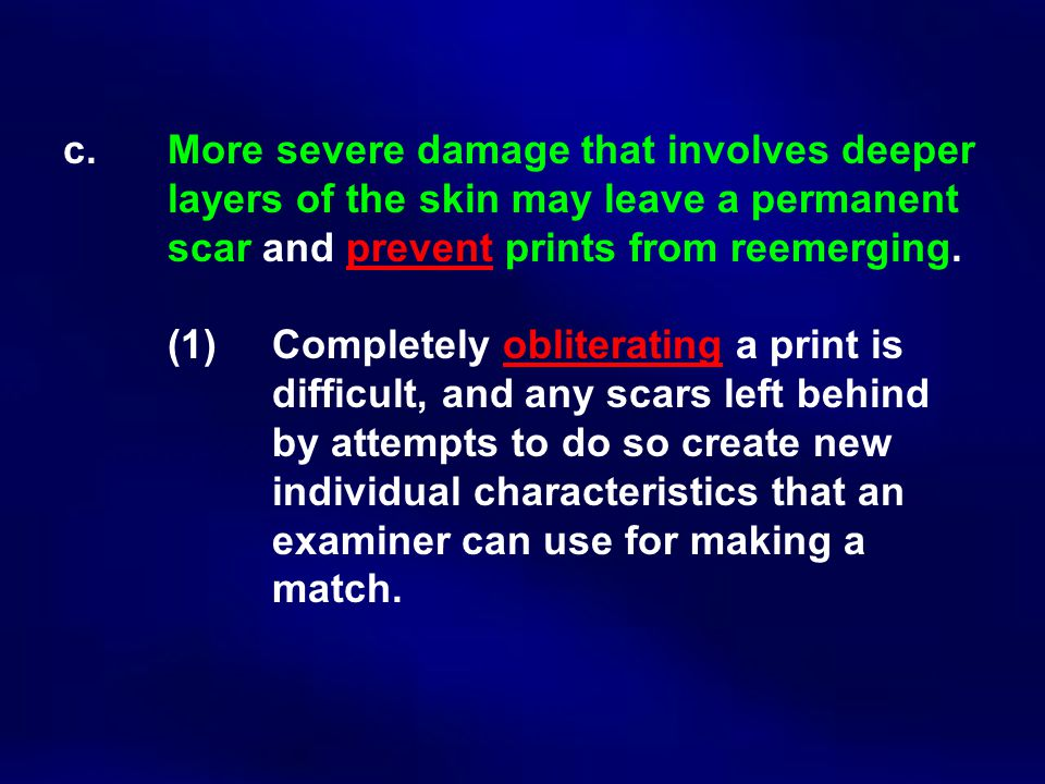 c. More severe damage that involves deeper