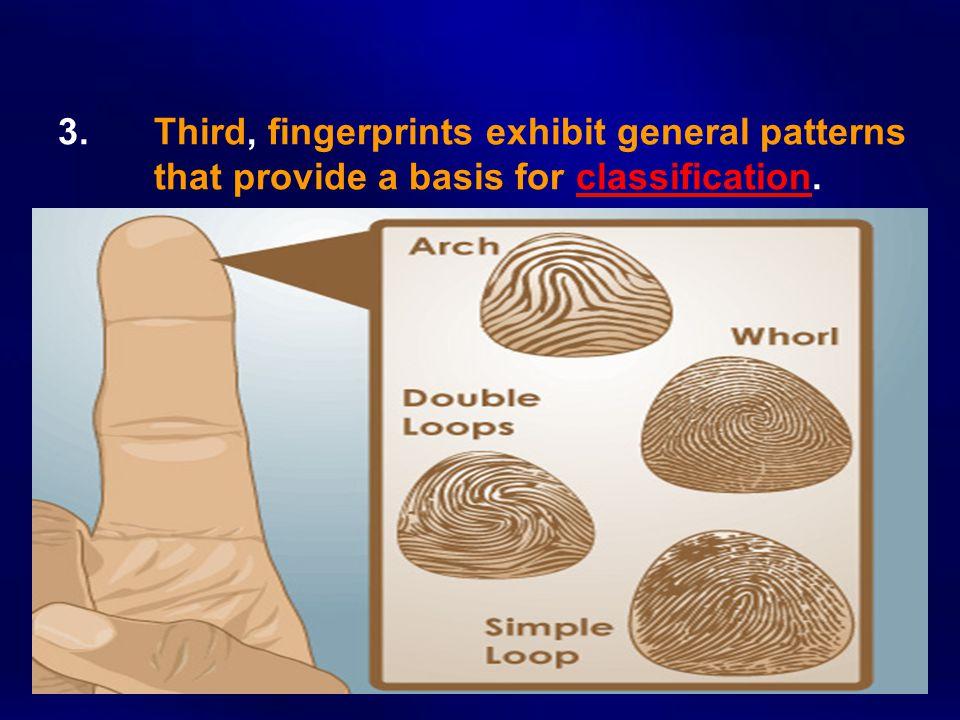 3. Third, fingerprints exhibit general patterns