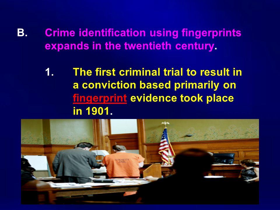 B. Crime identification using fingerprints