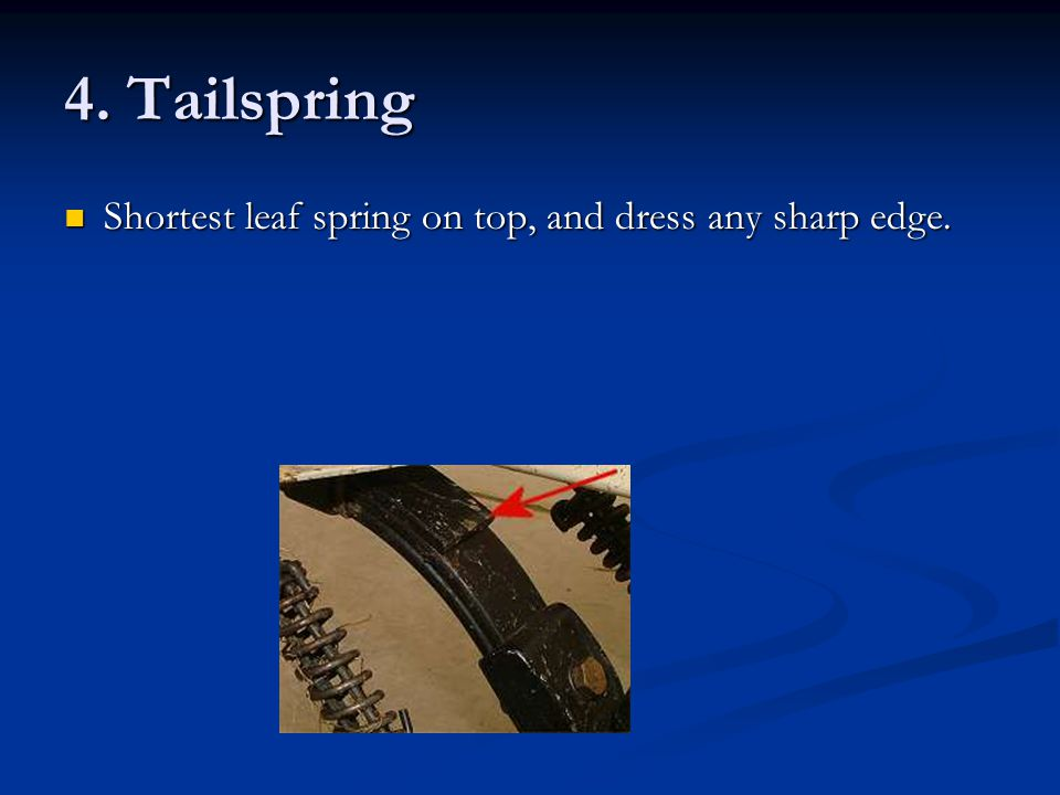 4. Tailspring Shortest leaf spring on top, and dress any sharp edge.