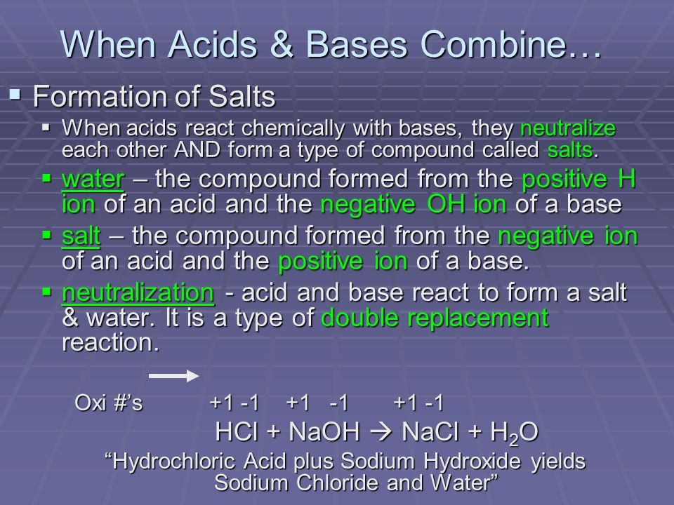 When Acids & Bases Combine…