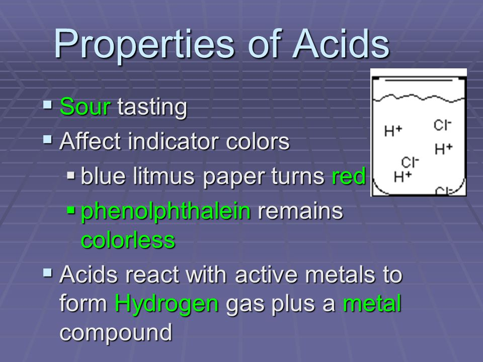 Properties of Acids Sour tasting Affect indicator colors