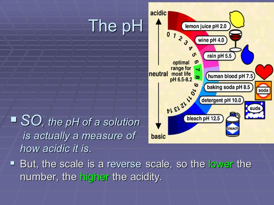 The pH Scale SO, the pH of a solution is actually a measure of how acidic it is.