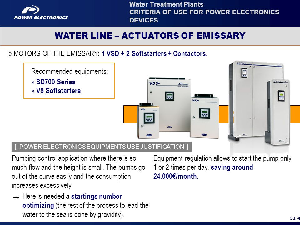 Water Treatment Plants CRITERIA OF USE FOR POWER ELECTRONICS DEVICES