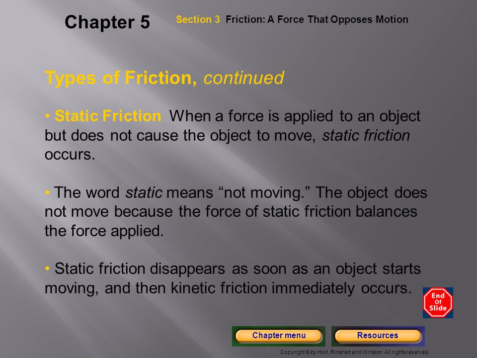 Types of Friction, continued