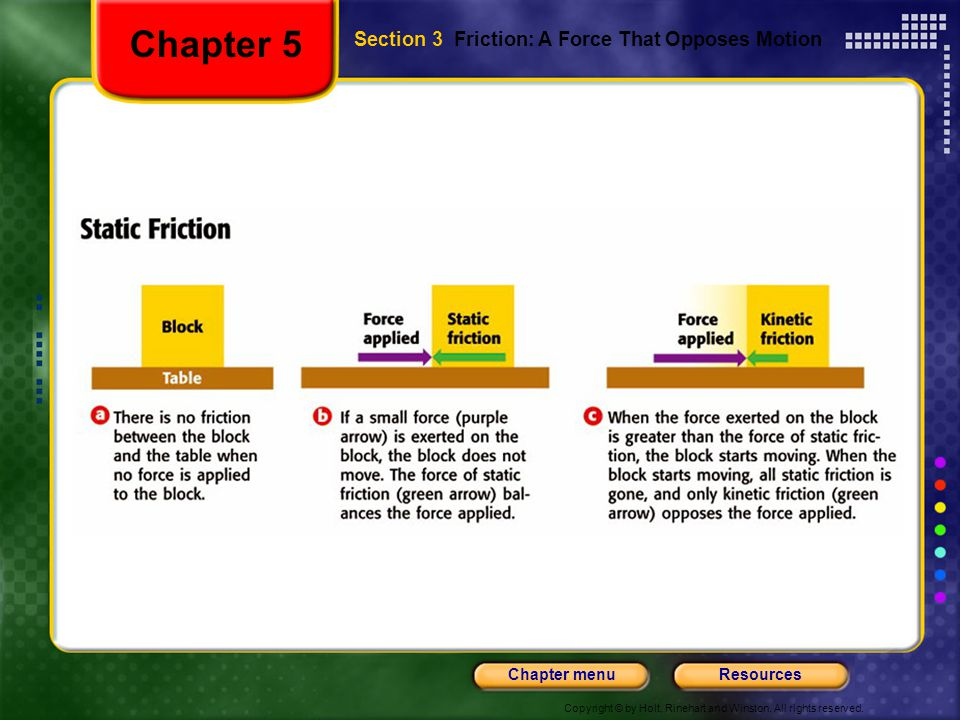 Chapter 5 Section 3 Friction: A Force That Opposes Motion