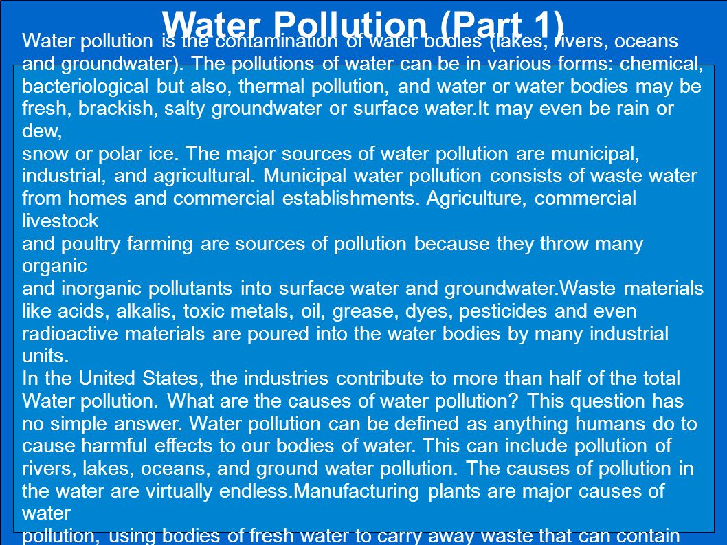 Water Pollution (Part 1)